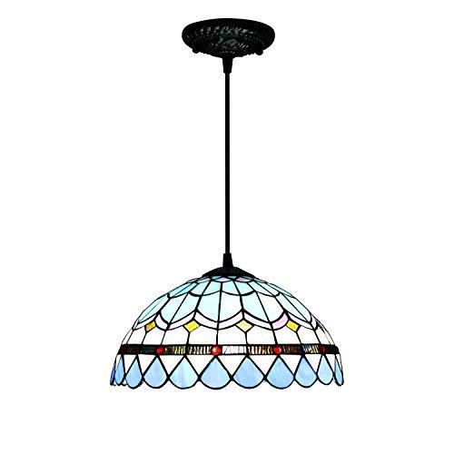 12 Zoll blaue Feder-mediterrane pastorale antike Luxux tiffany-Art-handgemachte Glas-hängende Lampe hinunter Licht