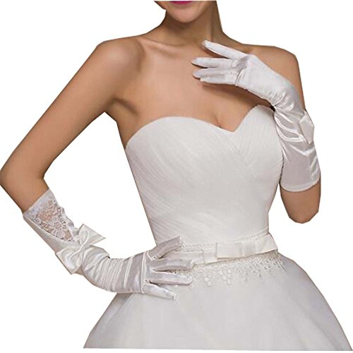 Gants de mariée en dentelle satinée Gants de mariée en dentelle blanche