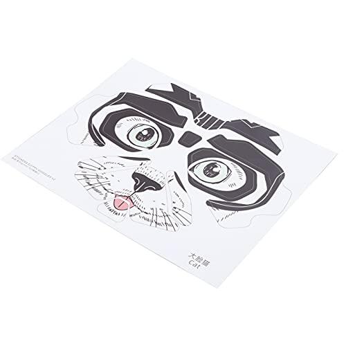 Gaeirt Adesivi Rimovibili in Materiale PVC, Occhiali da Volo dal Taglio preciso Adesivi Decorativi in Pelle per Proteggere Gli Occhiali Volanti da Graffi, Polvere e Urti(Gatto dalla Faccia Grossa)