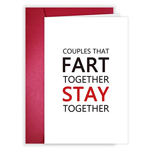Fart Anniversary Card, Funny Love Card for Husband BF GF, Couples That Fart Together Stay Together