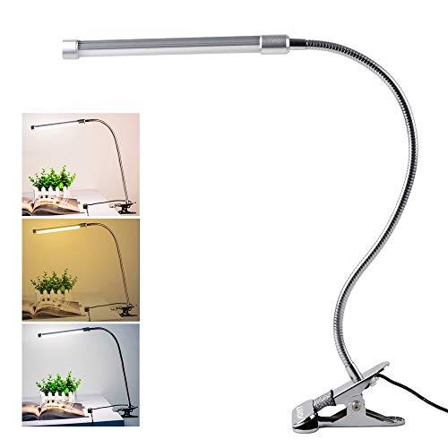 Lixada 10W Clip LED Luz Lampara de Lectura Escritorio, Protección para Ojos, 10 Nivel de Brillo Ajustable, 3 Colores de Iluminación, 36 LEDs Powered USB, Portátil Flexible Regulable ✅