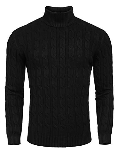 COOFANDY Men's Slim Fit Knitted Pullover Ribbed Turtleneck Sweater Black