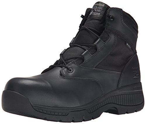 Timberland PRO Men's 6 inch Valor Comp Toe WP Side Zip Work Boot, Black Smooth Leather Ballistic Nylon, 10 M US