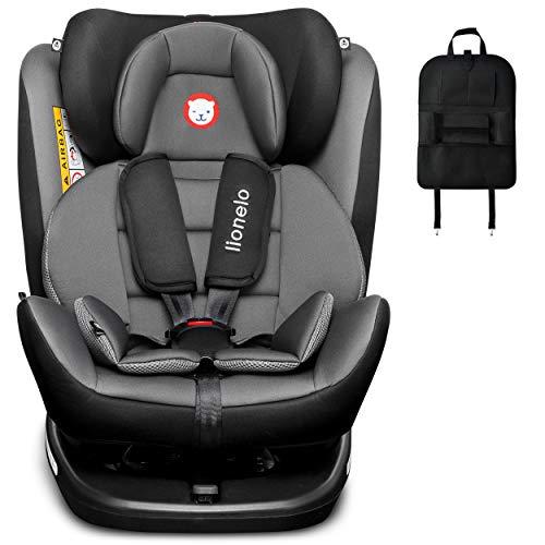 LIONELO BASTIAAN ISOFIX - Asiento infantil para coche (0-36 kg, 360°, incluye organizador), color gris y neg