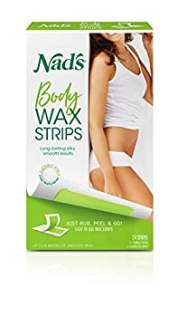 Nad s Body Wax Strips Hair Removal For Women At Home plus 4 Calming Oil Wipes 24 Count