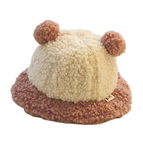 HIOD Sombrero de Bebé para Niños Otoño Invierno Niños Niñas Sombreros de Pescador Niños Pequeños Gorro de Felpa Cálido con 2 Pelotas de Felpa,Pink
