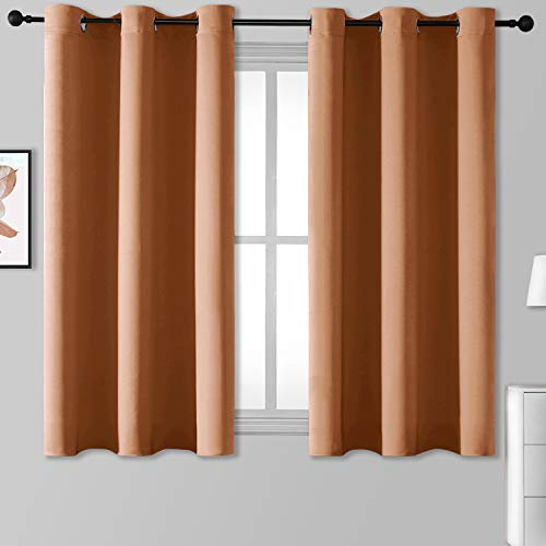 Rutterllow Blackout Curtains for Bedroom, Thermal Insulated Room Darkening Curtains 2 Panels for Living Room, Grommet Top (38x45 Inch, Orange)