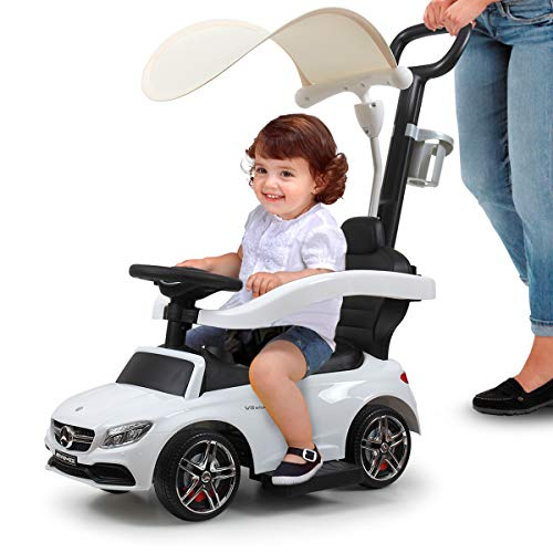 TOBBI White Mercedes Benz Kids Ride-on Push Car w/Music&Horn for Toddler