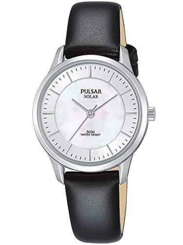 Pulsar dames analoog zonne-horloge met lederen armband PY5043X1