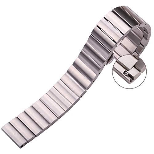 RHBLHQ Correa de Metal Negro 22mm Pulsera de Plata de 16 mm 18 mm 20 mm de Acero Inoxidable Correa (Band Color : Silver, Band Width : 24mm)