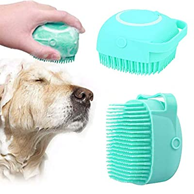 NganSuRong Pet Dog Bath Brush Pet SPA Massage Rubber Comb Soft Silicone Puppy Cats Shower Hair Fur Grooming Cleaning Scrubber With Shampoo Soap Storage (Blue)