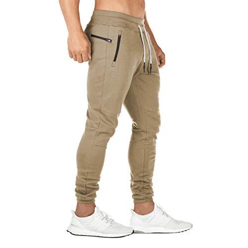 FEDTOSING Jogginghose Herren Fitness Spotshose Slim Fit Trainingshose Sweatpants Chino Baumwolle Taschen(Khaki XS)