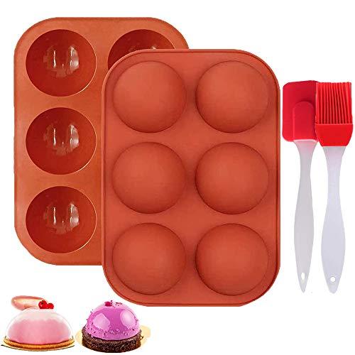 Olywee Molde de silicona, 6 cavidades, molde de silicona semifórea grande, 2 paquetes de moldes para hornear bombas de chocolate caliente, moldes de silicona para hacer pasteles, gelatina, mousse