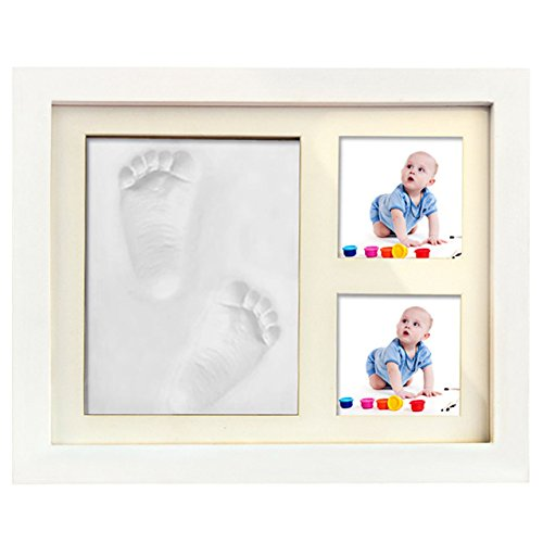 Baby Clay Handprint and Footprint Keepsake Kit-Non Toxic and Safe Clay-Solid Wood Product with Acrylic Glass, Air Drying-Best Baby shower Gift (White)