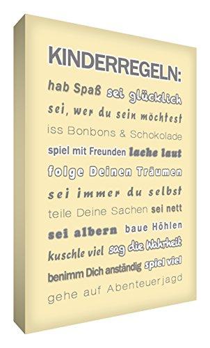 Little Helper FR1624-20G Feel Good Art Tableau sur toile avec citations sur la famille en langue allemande « Kinderregeln » Typographie moderne Couleur crème 60 x 40 cm