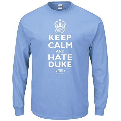 Smack Apparel North Carolina Basketball Fans. Keep Calm and Hate Duke Blau Lange Ärmel T-Shirt S (3x), Unisex-Erwachsene Herren Damen, Carolina Blue, Large