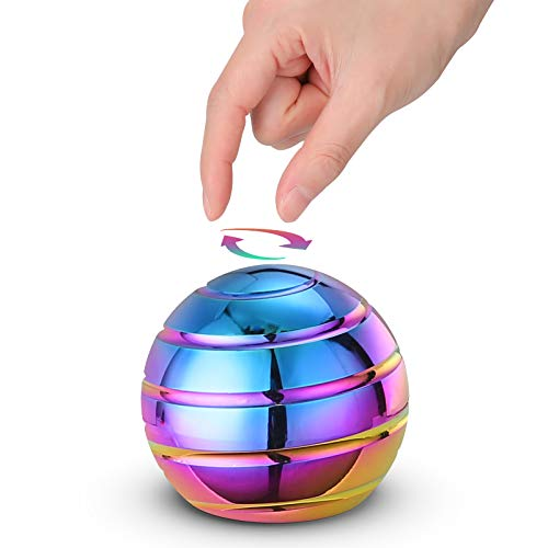 Kinetic Desk Toy Ball Big, 54MM Optical Illusion Desktop Fidget Spinning Toy for Adults Anxiety, Cool Gadgets Decision Maker Toy for Relaxing Stress Relief ADHD (Rainbow)