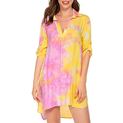 Celucke Womens Casual Loose Fit Vintage Print Dress, Ladies Floral Short Sleeve Pullover T Shirt Dress Beachwear Holiday Pink