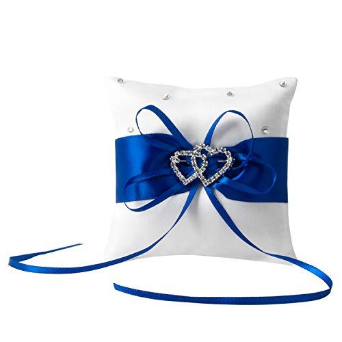 NIERBO Cojín para Anillo de Bodas 10 * 10 cm Almohada para Anillo con Lazo de Satén para Accesorios de Compromiso de Boda (Azul)