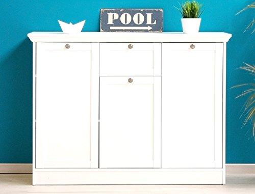 expendio Sideboard Landström 15 weiß 120x90x40 cm Unterschrank Kommode Anrichte Schrank Esszimmer Wohnzimmer Schlafzimmer Landhausmöbel