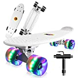Saramond Skateboard komplett 55 cm Mini-Cruiser Retro-Skateboard für Kinder Jungen Mädchen Jugendliche Erwachsene Anfänger, LED-Blitzräder mit All-in-One Skate T-Tool (Weiß)