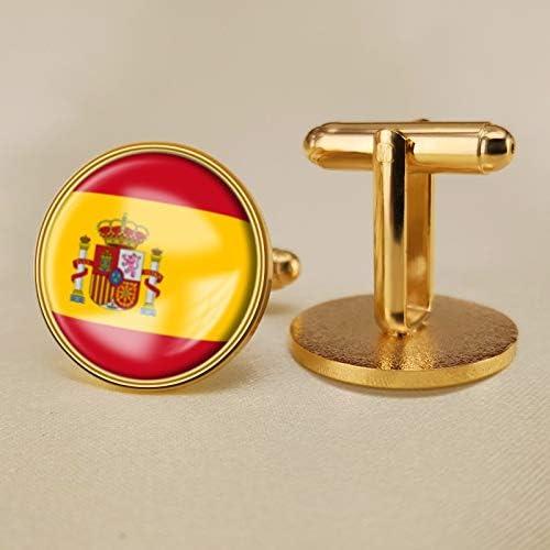 YYOBK Boys' Cuff Links,Men's Cuff Links,Shirt Studs,Sports Fan Cuff Links,Spain Flag Cufflinks,Round Cufflinks, Copper 19mm (Color : Gold, Size : 19mm)