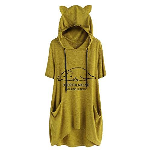 iHENGH Damen Top Bluse Lässig Mode T-Shirt Frühling Sommer Frauen Bequem Blusen Casual Print Lange Ärmel Seitentasche Mit Kapuze Unregelmäßige Tops Shirts(Gelb-3, 2XL)