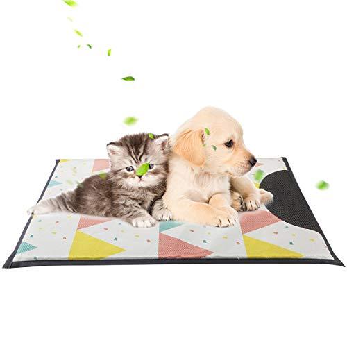 Tianhaik huisdier koelmat 3 maten zomer ademende hond kat ijs zijde bed kennel koeling slaap deken voor thuis 60x43 cm Grijs