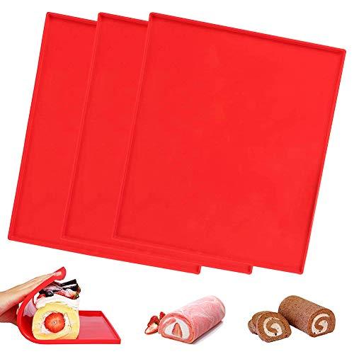 3Pcs Teglia rettangolare in silicone da cucina, Silicone antiaderente Swiss roll & Roulade Teglia 31,5 x 26,5 x 1cm Rosso