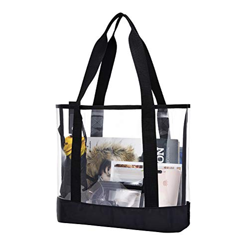 BORMELUN Clear Totes Bag Women - Large Work Transparent Shoulder Handbag with Zipper Pocket Pouch Bench School Stadium See Through Bags