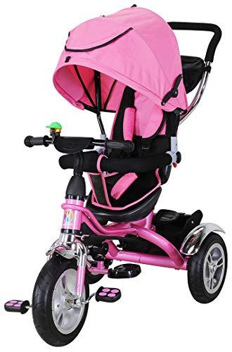 Miweba Kinderdreirad Schieber 7 in 1 Kinderwagen - 360° Drehbar - Luftreifen - Heckfederung - Laufrad - Dreirad - Schubstange - Ab 1 Jahr (Pink)