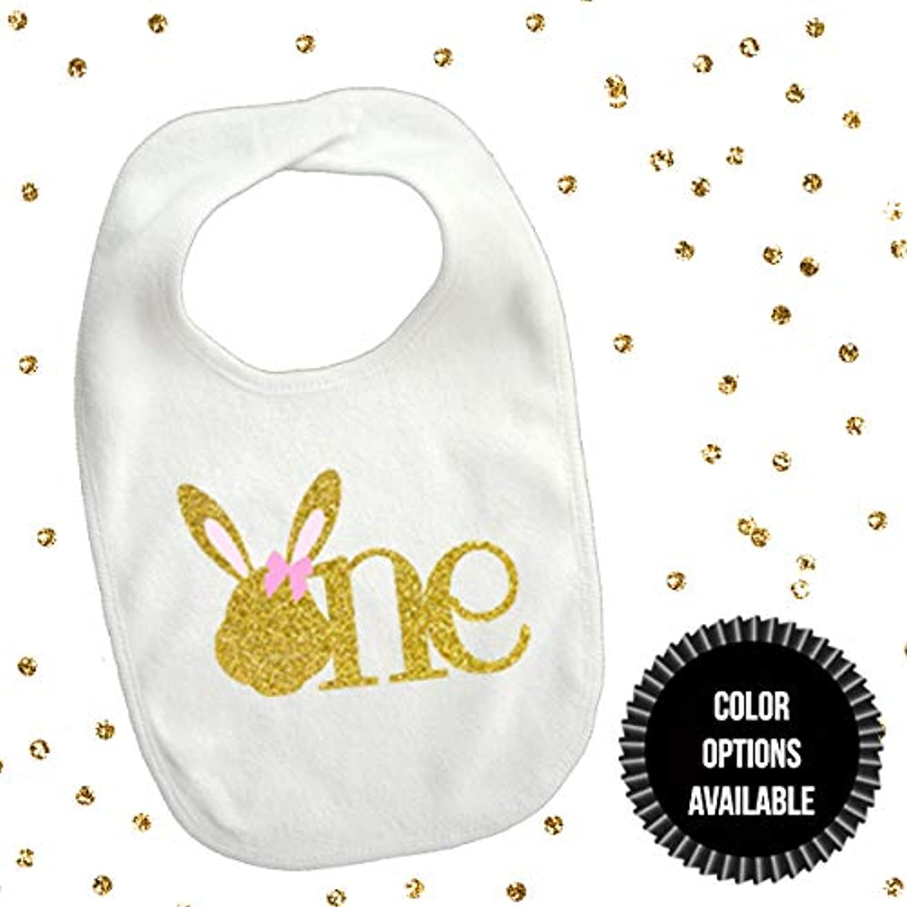1 piece one bunny head pink bow and gold glitter bib toddler girl for first birthday gift cake smash photo prop some bunny is one