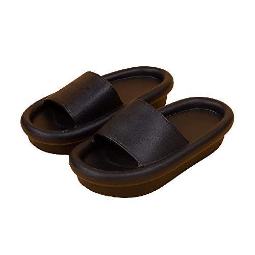 XZDNYDHGX Interiores Uso Al Aire Libre BañO Sandalia,Zapatillas de Plataforma Gruesa para Mujer, baño Interior, toboganes para el Piso del hogar, Zapatos de Verano para Mujer, Negro EU 38-39
