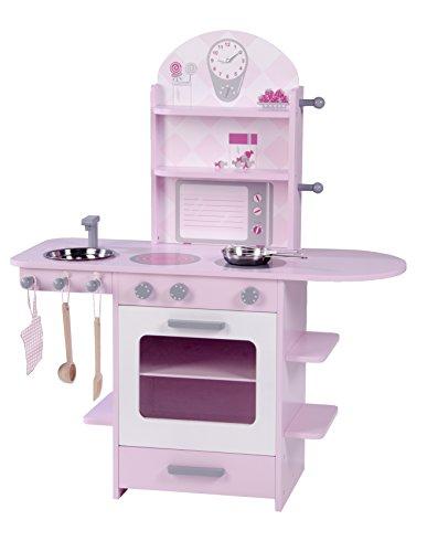 roba Spielküche, Holzküche rosa, Mädchen Kinderküche mit Herd, Spüle, Wasserhahn & Regal inkl. Zubehör