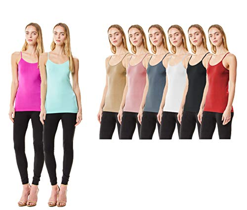 MoDDeals Women's Plus Size Seamless Camisole Tank Top Spaghetti Strap Layering Value Pack (12 Pack) (3X, Bright Combo)