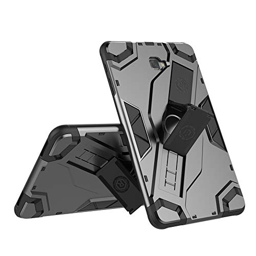 USPANDI Mobile Phone Case Cover, Heavy Duty Armor Defender Shockproof Tablet Case with Stand Hand Strap Protective Cover for Samsung Galaxy Tab A 10.1 2016 SM-T580/T585 (Color : Black)