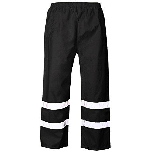 Myshoestore, pantaloni da lavoro impermeabili ad alta visibilità con 2bande in nastro riflettente PU di sicurezza e banda elastica in vita, taglie dalla S alla XXXL Black XX-Large