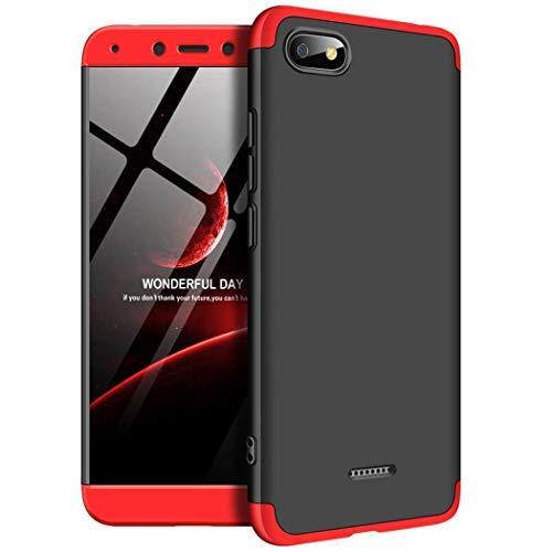 Kit Capa Capinha Anti Impacto 360 Para Xiaomi Redmi 6a Tela 5.45- Case Acrílica Fosca Acabamento Macio Com Película De Vidro Temperado - Danet (Preta Com Vermelho)