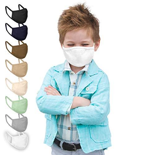 Jago® Gesichtsmaske für Kinder – 10er Pack, 3-8 Jahren, Reine Baumwolle, doppellagig, Atmungsaktiv, Filterfach, Farbwahl – Stoffmasken, Mund- Nasenschutz, Gesichtsschutz (Weiß)