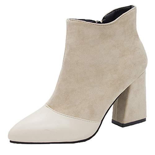 Tohole Chelsea Boots Stiefeletten Damen Kurzschaft Leder Kurze mit Absatz Ankle Boots Winter...