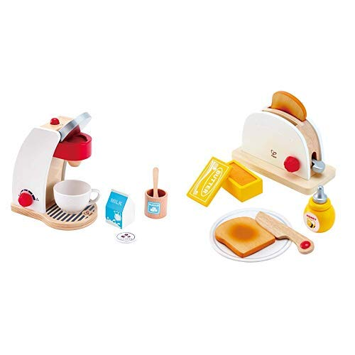 Hape E3146 Kaffeemaschine, Weiß & Hape E3148 - Pop-Up-Toaster-Set