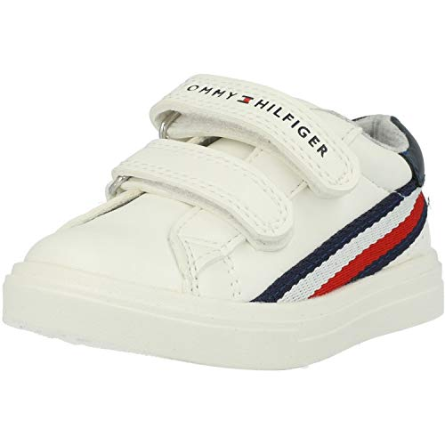 Tommy Hilfiger Trainer Blanco/Azul Eco Cuero Infantil Entrenadores Zapatos