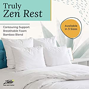 Zen Bamboo Pillows for Sleeping - Premium Allergy-Friendly Bed Pillow w/ Cool & Breathable Bamboo Cover - Reduces Neck Pain - King Size, Set of 2
