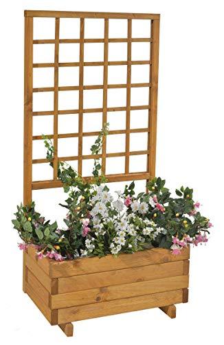 GASPO Blumenkasten mit Rankgitter Hellbrunn | Honig-Farben, aus massivem Holz | L 68 x B 37 x H 140, Pflanzkübel für Balkon und Garten