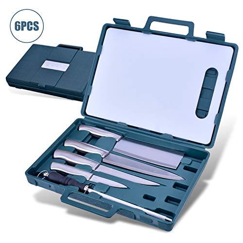 Tickas Set de cuchillos de cocina, 6PCS Juego de cuchillos de cocina con estuche de almacenamiento Incluye afilador de cuchillos Tabla de cortar Utensilio de cocina de Acero inoxidable