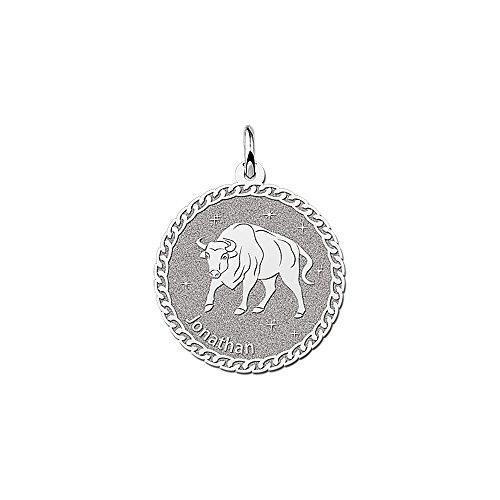 Naamforever ronde hanger van 925 sterling zilver | motief stier sterrenbeeld dierenriemteken en naamgravure op de voorkant
