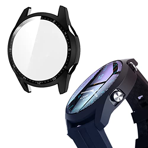 sciuU Hülle mit Bildschirm Schutzglas Kompatibel mit Huawei Watch GT 2 (46mm, Erschienen im 2019), [2 Stück] Schutzhülle Hülle eingebaut Schutzfolie Glasfolie Screen Protector,Mattschwarz + Schwarz