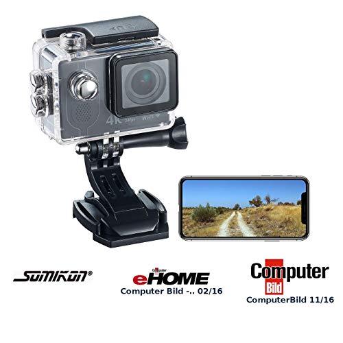 Somikon 4K Action Kamera: 4K-Action-Cam mit UHD-Video bei 24 fps, 16-MP-Marken-Sensor, IP68, WLAN (Cameras)