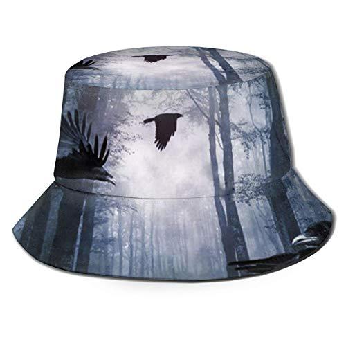 XCNGG Sombrero de Pescador Unisex para Adultos Crows in The Fores Bucket Hat, Gorra de Sol Plegable, máxima protección para los Rayos UVA, Pesca, jardinería, Senderismo, Acampada, Talla