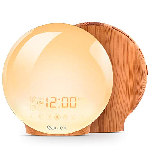 COULAX Wake Up Light LED Alarm Clock with Sunrise/Sunset Simulation Dual Alarm Clocks and Snooze Function 7 Colorful Atmosphere Lamp 7 Nature Sounds with FM Radio,Wood Grain Bedside Lamp Ideal Gift